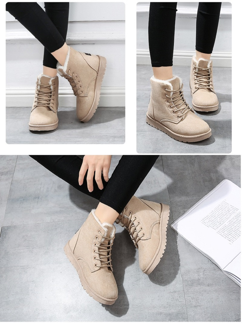 Women Flock Fur Flat Lace Up Winter Snow Suede Ankle Boots Female 29