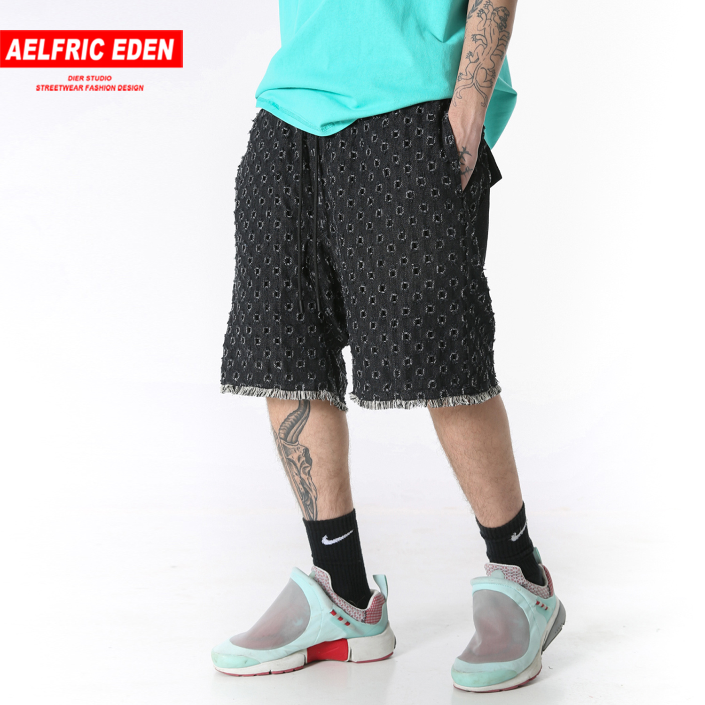 Aelfric Eden Hole Summer Denim Shorts Mens Fashion Harajuku Casual Hip Hop Knee Length Joggers Harem Shorts Fashion Streetwear