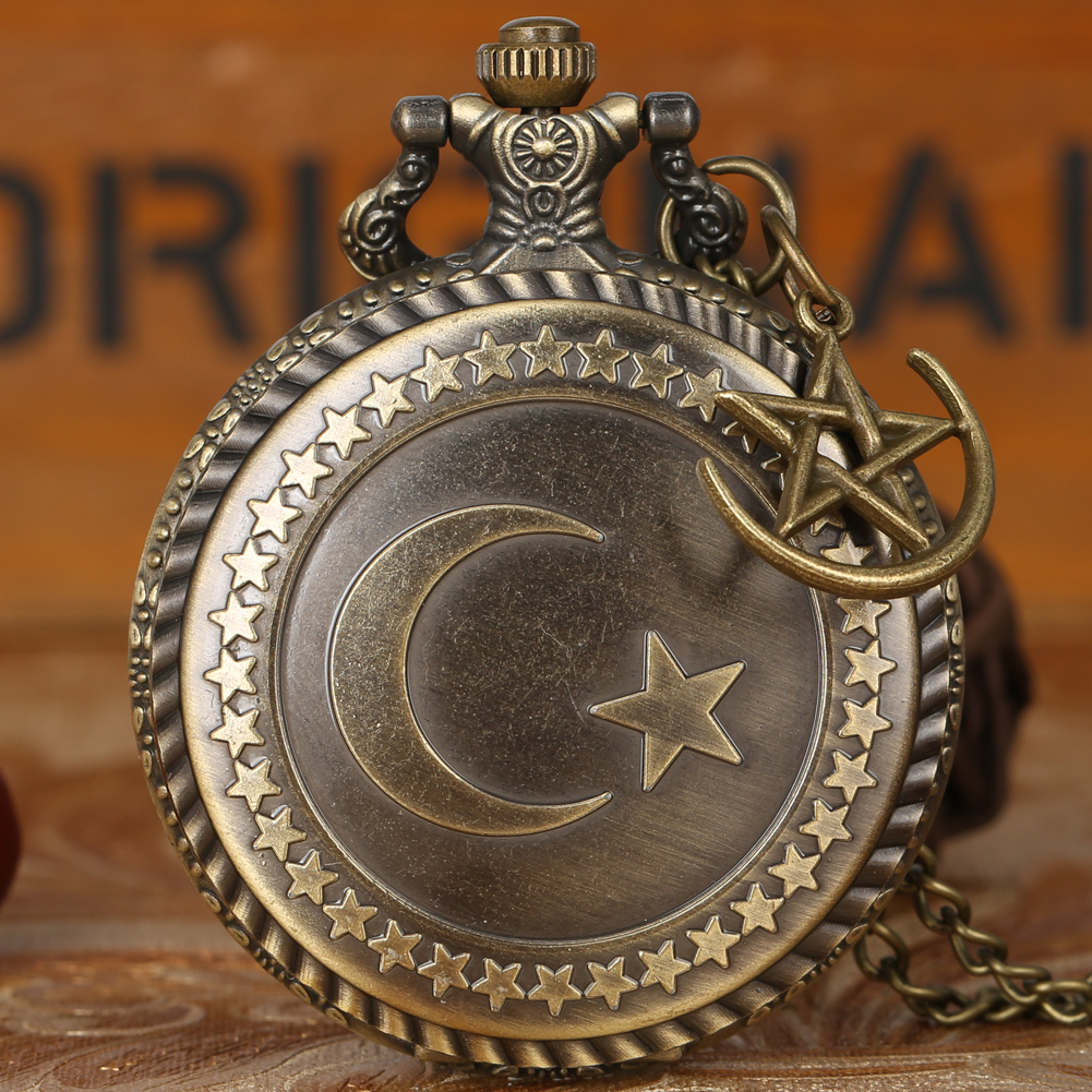 Bronze Turkey Flag Design Moon Star Circle Quartz Pocket Watch Carving Craft Pendant Necklace Accessories Vintage Clock Gift Men