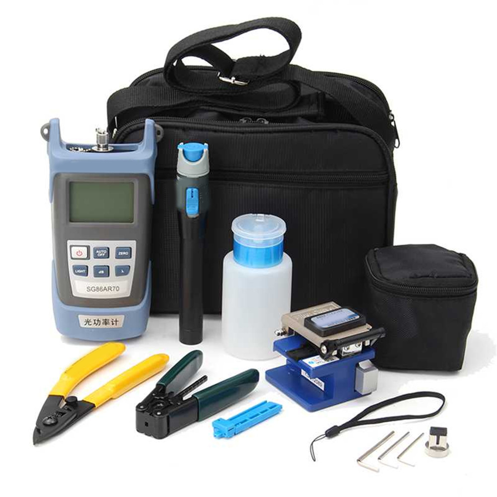 Fiber Optic FTTH Tool Kit With FC-6S Fiber Cleaver And Optical Power Meter 5km Visual Fault Locator Wire Stripper Bag For Tools