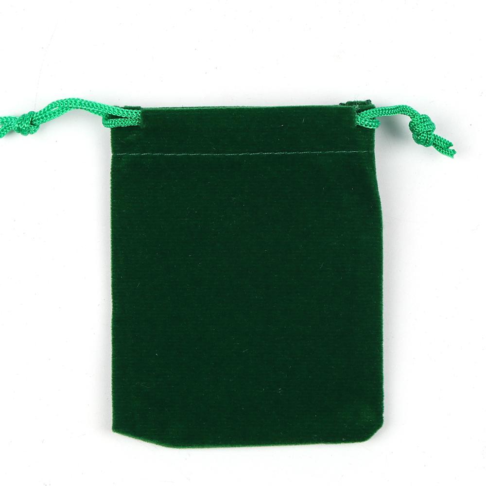 Doreen Box Vintage Velvet Cloth Drawstring Bags Rectangle Green Accessories (Usable Space: Approx 7.7x7.2cm) 9cm X 7.2cm, 2PCs