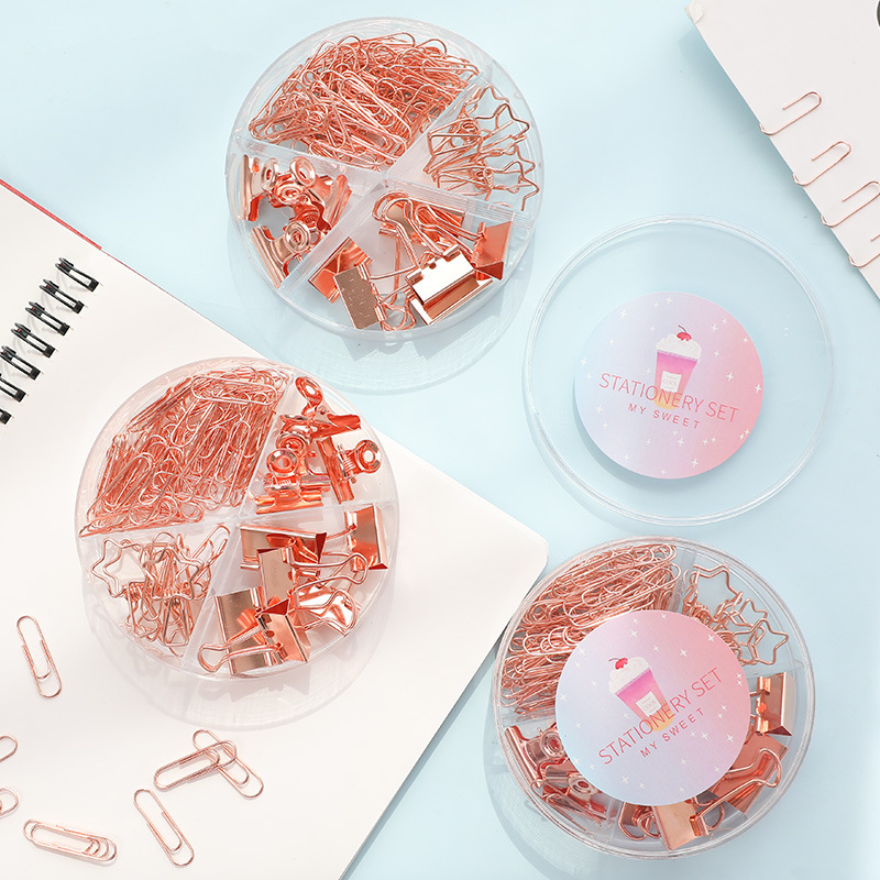 84PCS/Set Metal Clamp Paper Clips Kit Rose Gold Memo Binder Clip Spring Clips Paperclip Gold Paper Clip School Office Stationery