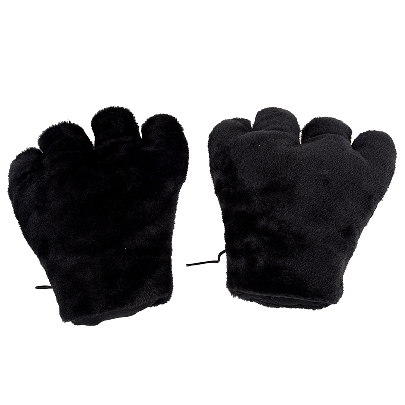 AUAU- 2 X Black Cat Foot Paw Plush Gloves Party Cosplay
