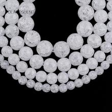 цена на Natural White Snow Cracked Crystal Round Loose Beads For Jewelry Making 4-12mm Spacer Beads Fit Diy Bracelet Necklace 15