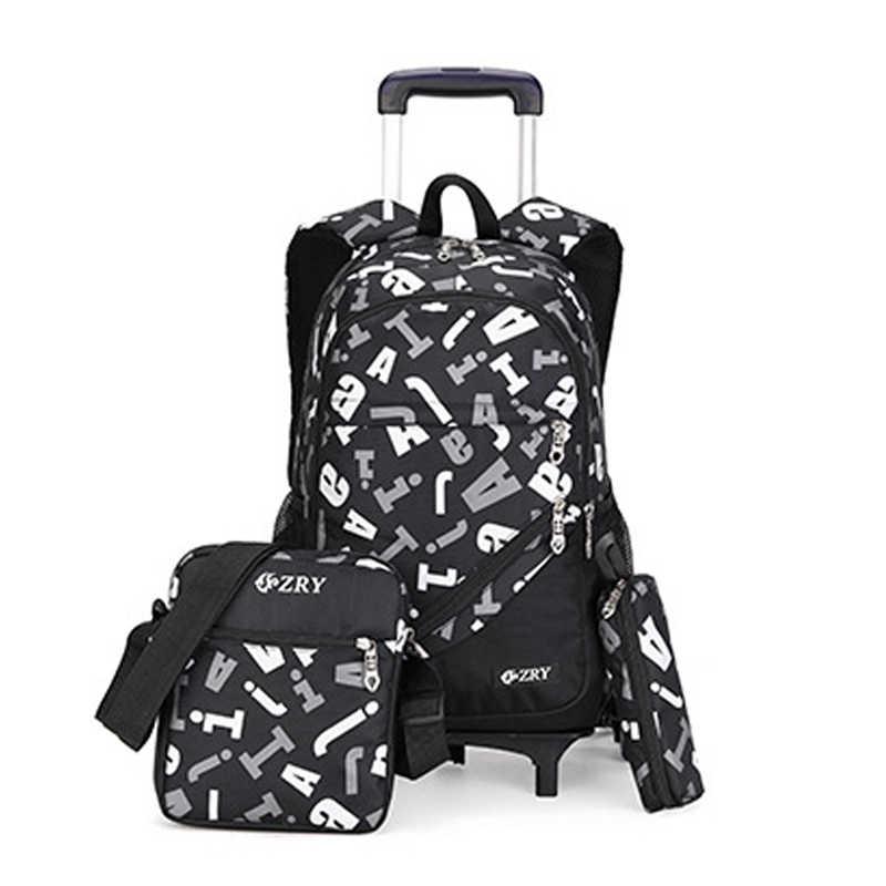 ZIRANYU dzieci chłopcy dziewczęta wózek tornister bagaż torby na książki plecak najnowsze wymienne torby szkolne dla dzieci 2/6 koła 3 szt. Garnitur