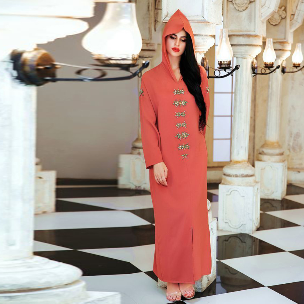 Abaya Dubai Turkey Arabic Dress Women Women's Abaya Women's Clothings Color: Oange Pink Size: XXL