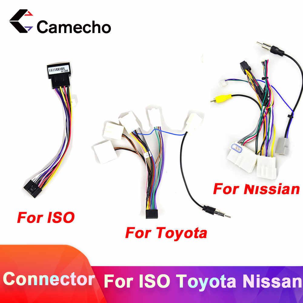 Camecho 2din Auto Android Radio Kabel Kabelboom Adapter Connector Plug Cabl Voor Volkswagen Iso Hyundai Kia Honda Toyota Nissan