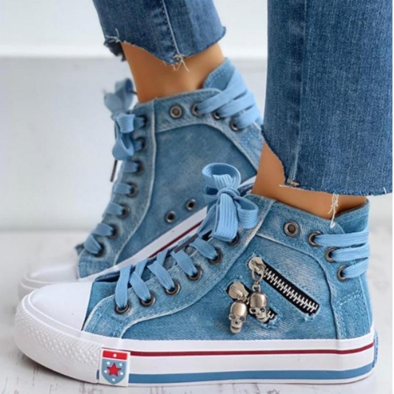 Vulcanize Shoes Women Canvas Chic High Top Denim Leisure Footwear Womens All-match Flat Zipper Walkin Korean Ladies Breathable