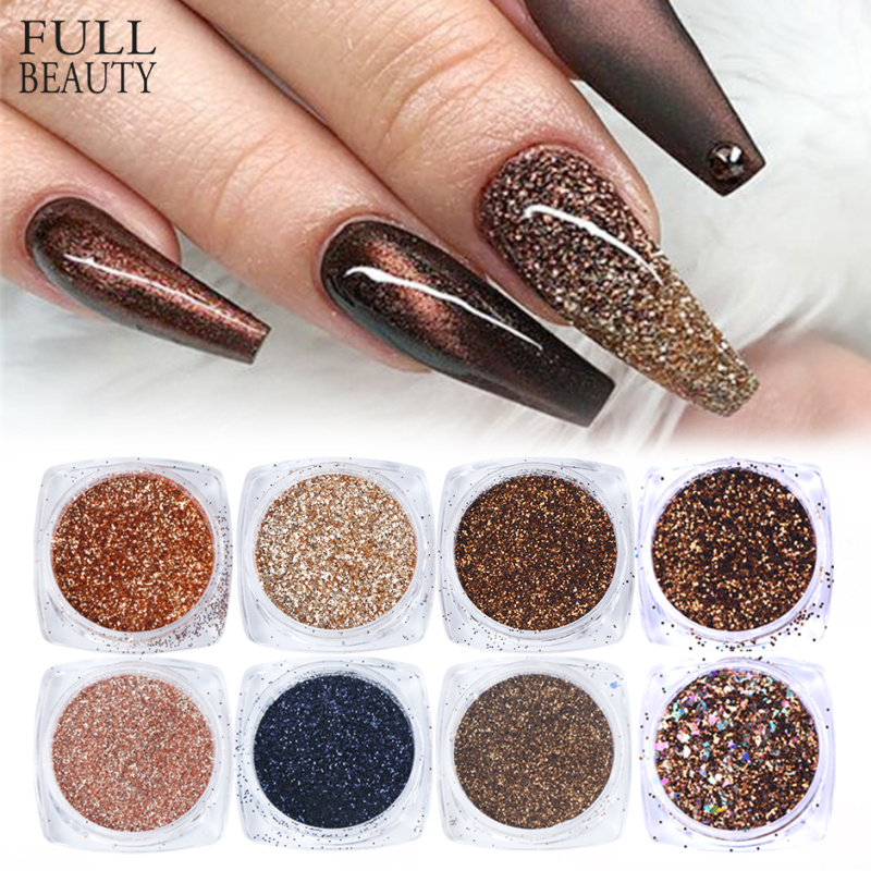 6pcs Rose Gold Nail Glitter Holographic Powder Set Shiny Sequin For Nails Beauty Makeup Manicure Nail Art Accessories CH1539-NEW
