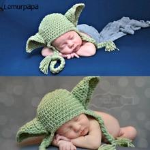 0-3 м новорожденный фотографии�одежду, реквизит Звездных войн вязаная кукла шляпа Ропа младенческой фотография одежда фотография