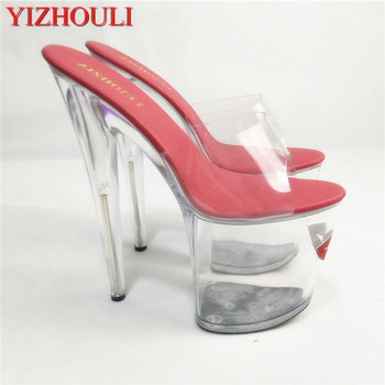 20 cm noble red lips are super tall and cool, transparent crystal fun, attractive, and sexy Dance Shoes