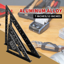 Triângulo régua 7 polegada liga de alumínio ângulo transferidor velocidade métrica praça régua de medição para construção enquadramento ensinar ferramentas calibre