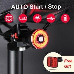 Rem Sensing Auto Start/Stop COB Sepeda Rear Lampu LED Tahan Air LED Lampu Sepeda Bersepeda Ekor Lampu Sepeda aksesoris