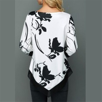 4XL Plus Size Women Blouses 2019 Autumn Tops Casual Long Sleeve Print Lace Patchwork Shirt Lady Irregular Blouse Large Size 5XL 6