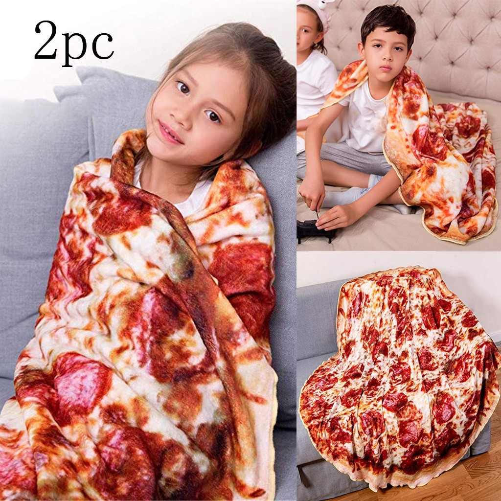 2019 High Quality 2PC  Blanket Pizza Wrap Round Blanket Novelty Soft Flannel 3D Printed For Kids Support Wholesale Dropshipping