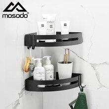 Mosodo Bathroom Shelf Organizer Shower Storage Rack Black Corner Shelves Wall Mounted Aluminum Toilet Shampoo Holder No Drill