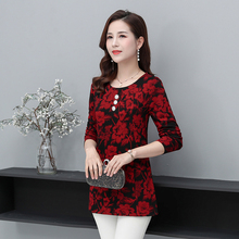 Chinese Style Women Red Flower Printing Blouses Round Collar Long Sleeve Plus Size Oriental Tunic Woman Casual Daily Wear Spring