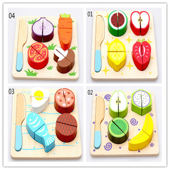New wooden toy Fruits and vegetables dessert kitchen toy set Baby toy Free shipping new wooden toy wooden blocks kitchen toy ice cream and donuts soft cream baby toy free shipping