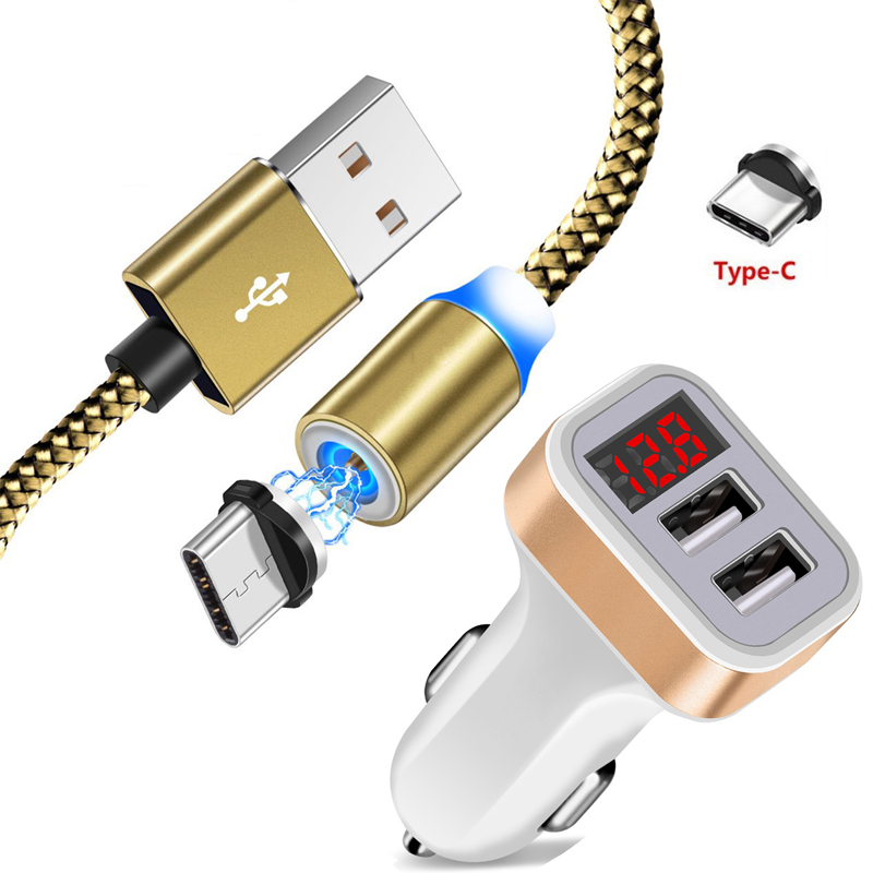 Type C USB Magnetic Cable For Huawei P20 P30 Pro lite Mate 20 30 Pro lite 20X Magic 2 Honor 20 LED Display Dual USB Car Charger(China)