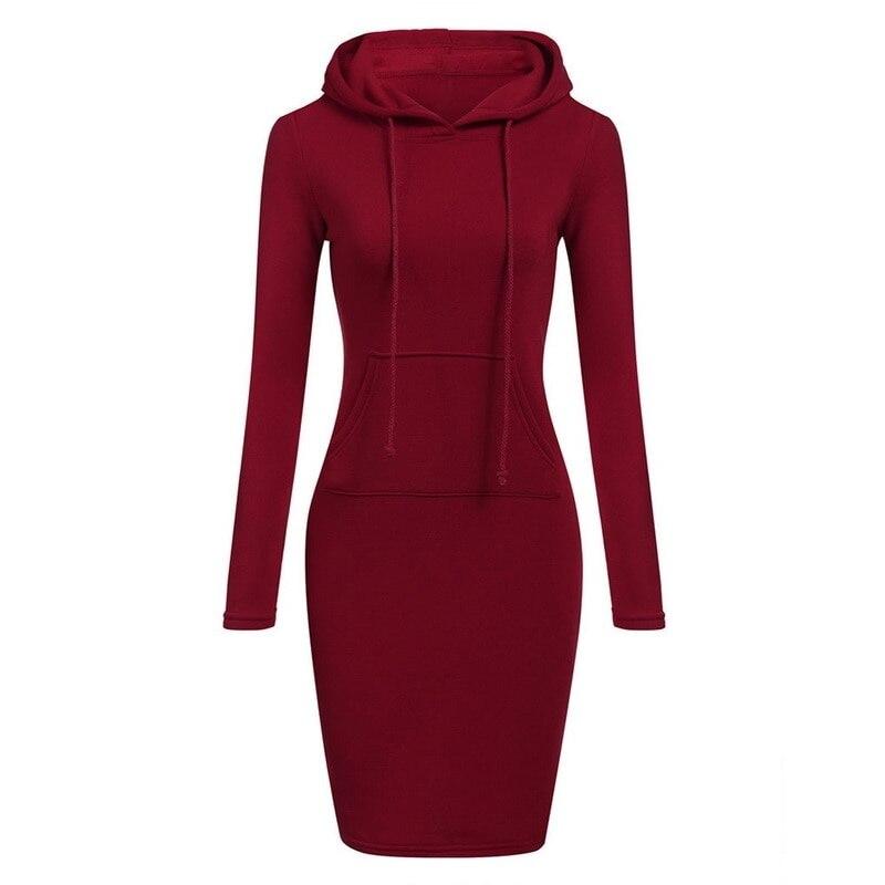 Autumn Winter Warm Sweatshirt Long-sleeved Dress Woman Clothing Hooded Collar Pocket Simple Casual lady Dress Vesdies Sweatshirt 2