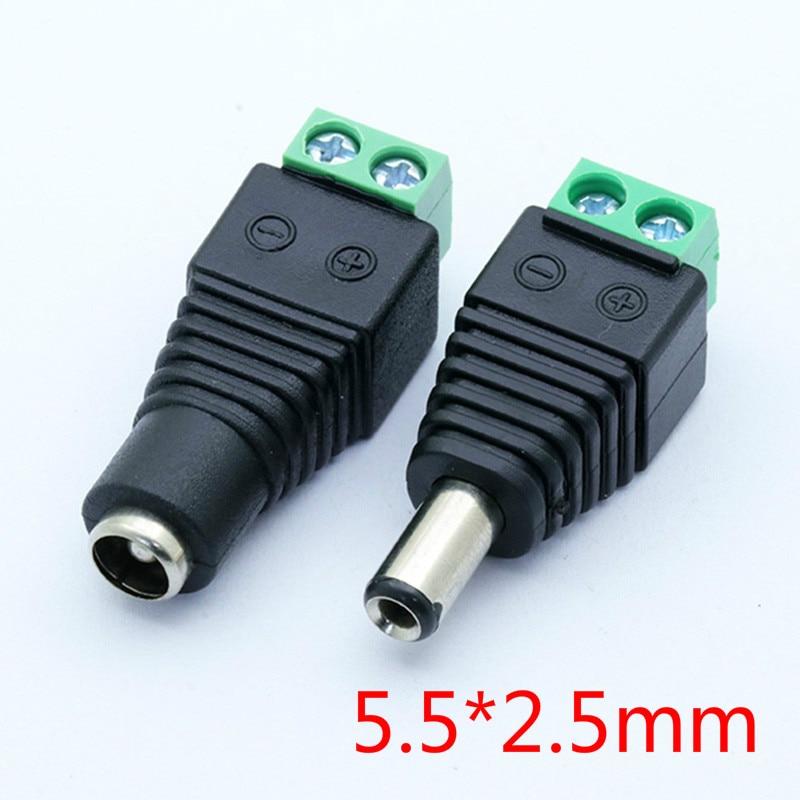 10Pcs 12V 2.5 X 5.5mm 5.5*2.5mm DC Power Male Plug Jack Adapter Connector Plug For CCTV Single Color LED Light