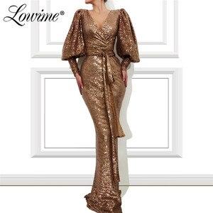 Image 1 - Robe Soiree Dubai Prom Dresses Vrouw Party Night 2020 V hals Pailletten Mermaid Avondjurk Formele Lange Mouwen Arabisch Gown custom
