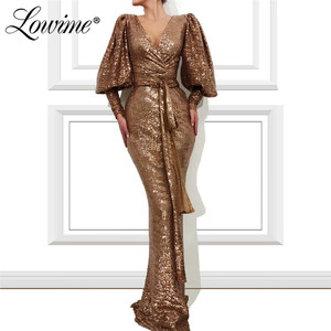 Image 1 - Robe Soiree Dubai Prom Dresses Woman Party Night 2020 V Neck Sequins Mermaid Evening Gown Formal Long Sleeves Arabic Gown Custom