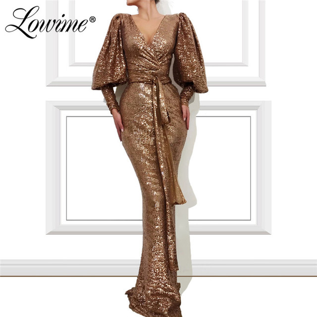 Robe Soiree Dubai Prom Dresses Woman Party Night 2020 V Neck Sequins Mermaid Evening Gown Formal Long Sleeves Arabic Gown Custom
