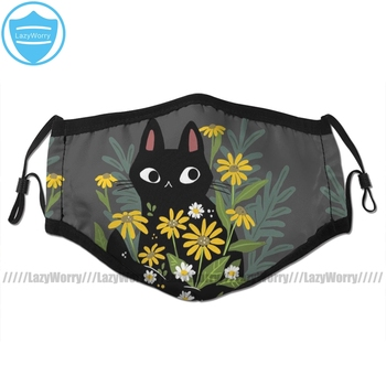 цена на With Cat Mouth Face Mask Black Cat With Flowers Facial Mask Kawai Cool with 2 Filters for Adult