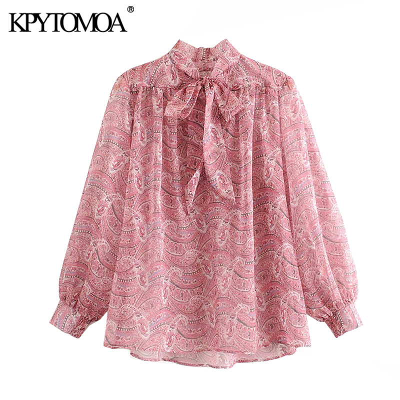 KPYTOMOA Women 2020 Fashion Paisley Print Loose Blouses Vintage Bow Tied Collar Long Sleeve Female Shirts Blusas Chic Tops