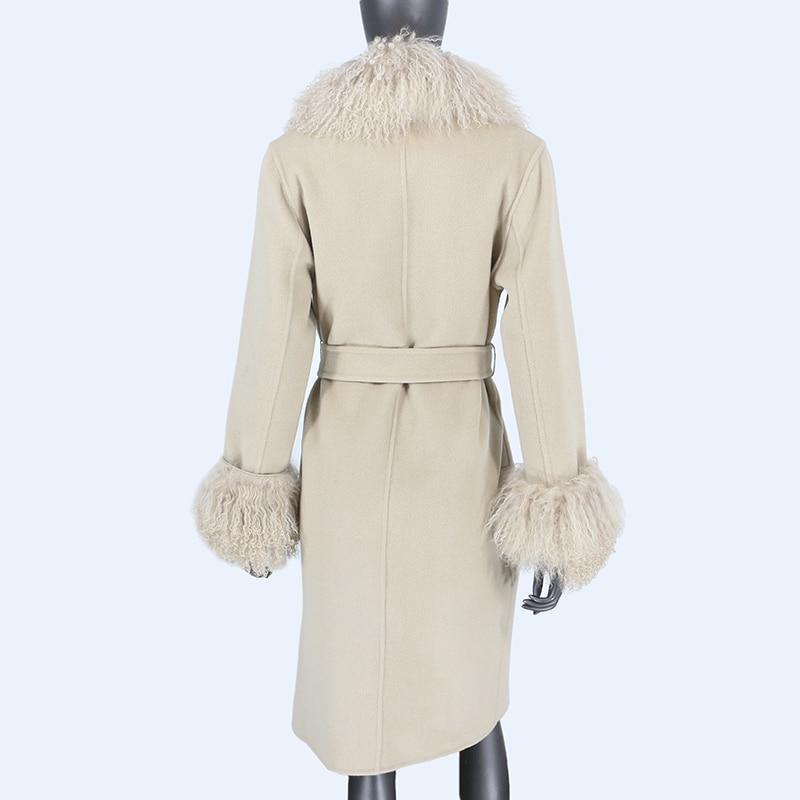 H1dde5c28833b4165ae2bbb1d82c7da28m 2021X-Long Natural Mongolia Sheep Real Fur Coat Autumn Winter Jacket Women Double Breasted Belt Wool Blends Overcoat Streetwea