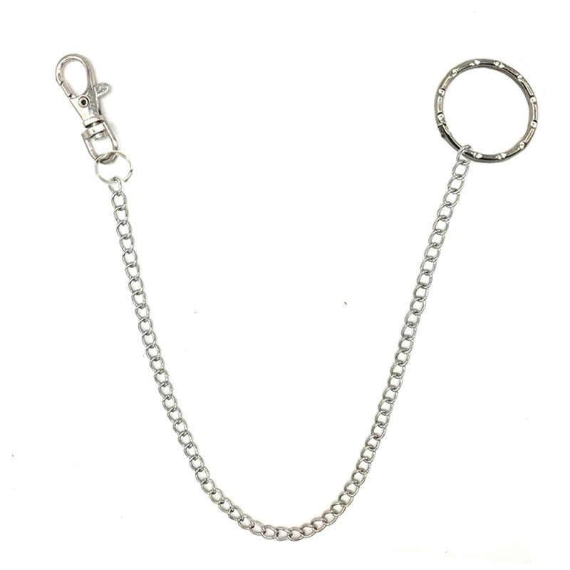 Novo rock punk calças gancho cinto de corrente 40cm metal cinto de cintura carteira corrente de prata cintos de hip hop corrente para homens calças femininas 8005