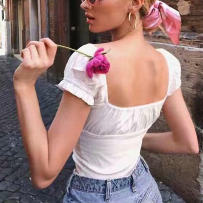 Summer Tops For Women Blouses White Crop Top Sexy Puff Sleeve Blouse Women Shirts Ruffle Top Streetwear Korean Fashion Clothing