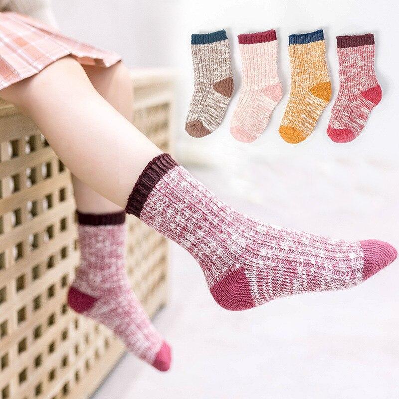 4Pairs/lot Kids Girls Socks Woolen Knitted Socks for Boy Winter Warm Socks for Girls Thick Children Stuff Suitable for 1-12Years 3