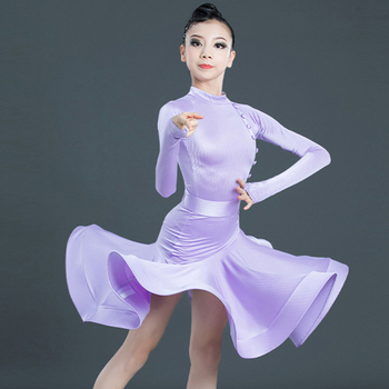 Latin Dance Dress Girls Long Sleeves Competition Performance Clothing Rumba Cha Cha Samba Salsa Dancing Stage Wear Child DN5293