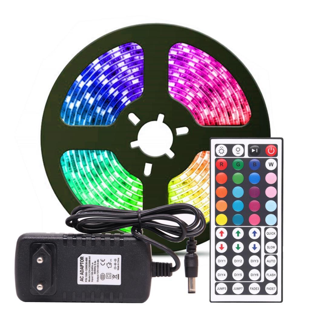 RGB LED Strip Light RGB 5050 SMD 2835 ริบบิ้น fita LED Light Strip RGB 5M 10M เทป DC 12V รีโมทคอนโทรลอะแดปเตอร์