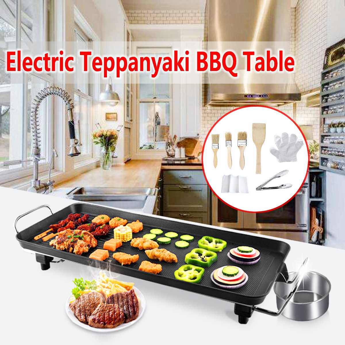 1350W Non-sticky Family Barbecue Electric Raclette Grill Smokeless Grill Raclette Grill Electric Griddle Electric Baking Tray