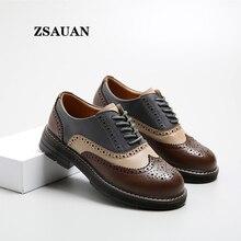 ZSAUAN/женские туфли-оксфорды; женская повседневная обувь из коровьей кожи на плоской подошве; броги в европейском стиле; стильная женская обувь на толстой плоской подошве 3,5 см
