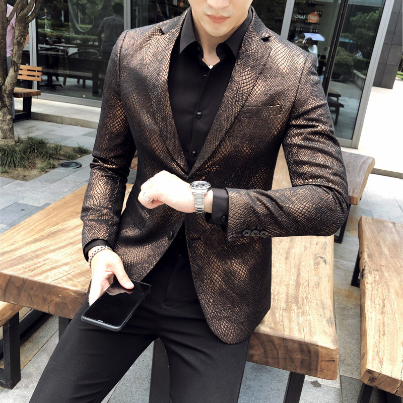 Luxury Men Blazer Casual Slim Fit Suit Jacket High Quality Mens Dress Wedding Party Stage Singer Coat Jacket Terno Masculino