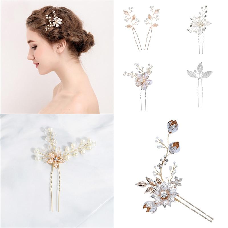 Hot Leaf Bridal Hairpin Round Pearls Women Jewelry Accessories Beauty Handmade Bride Headwear Silver Head Clips Charms Headdress