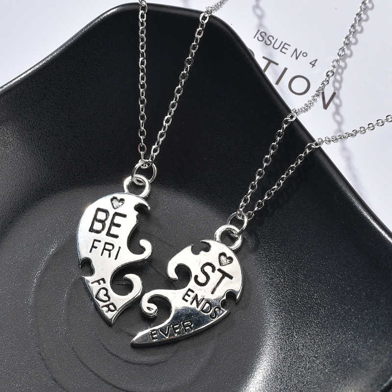 Fashion New Best Friend Couple Necklace Vintage Heat Shape Pendant Necklace For Women Silver Chain Necklace Jewelry Gifts