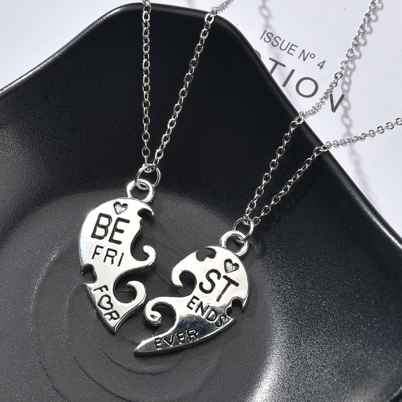 Best Friends Forever Sister Pendant Necklace For Women Broken Love Heart Pendants Choker Couple Jewelry BFF Friendship Colar