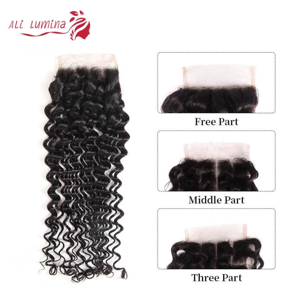 4x4 Lace Closure 100%  Closure Sample    Hair Deep Wave Frontal Closure 8 Inches Short Hair 5
