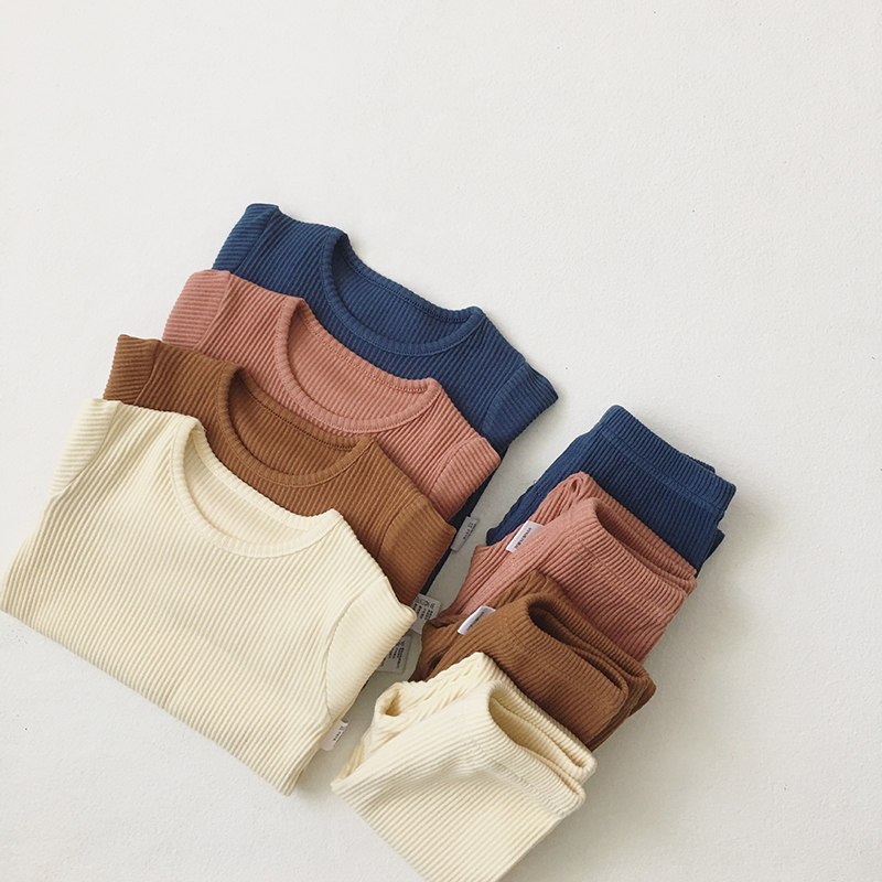 Children Cloth Ribbed-Set Baby Pants Girls Autumn Boys Hot-Sale Kids Winter Full-Sleeve