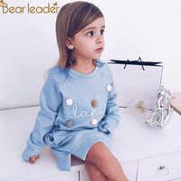 Urso líder primavera inverno dos desenhos animados carta bordado moletom menina moda longo vestido com capuz pulôver moletom feminina 2-6years