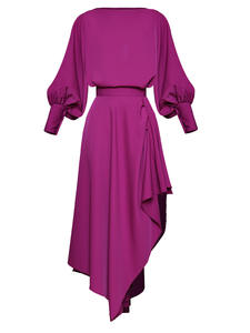 Moaayina Designer Suit Skirt Lantern-Sleeve Two-Piece-Set Spring Asymmetrical Summer Women