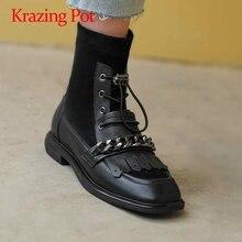 Heels Shoes Ankle-Boots Round-Toe Low-Square Women Chain L16 Krazing-Pot Decorations-Fringe