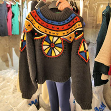 2019 Autumn Sweater New Women Retro Colour Sleeve Short Knitted Pullovers O-Neck Casual
