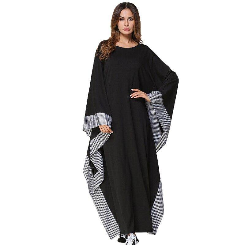 2020 New Spring Autumn Abaya Kaftan Women's Dress Casual Bat Sleeve Soft Black Robes Muslim Islamic Dress