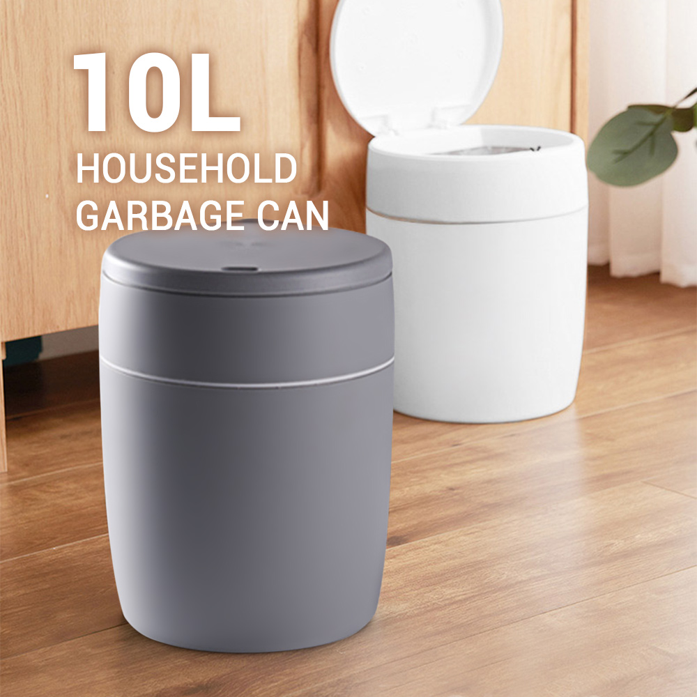 10L Press Type Garbage Can Premium Water Resistant Plastic Material Waste Bins Trash Can With Lid For Home Office Hotel Hospital|Waste Bins| |  - title=